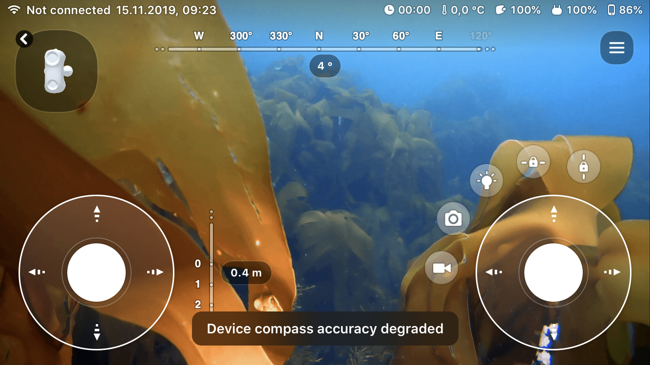 App showing device compass accuracy degredation