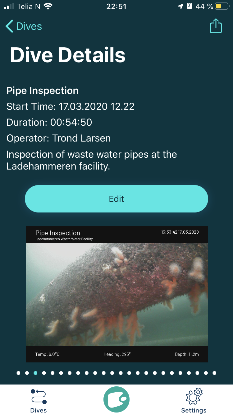 iOS Screenshot of dive details