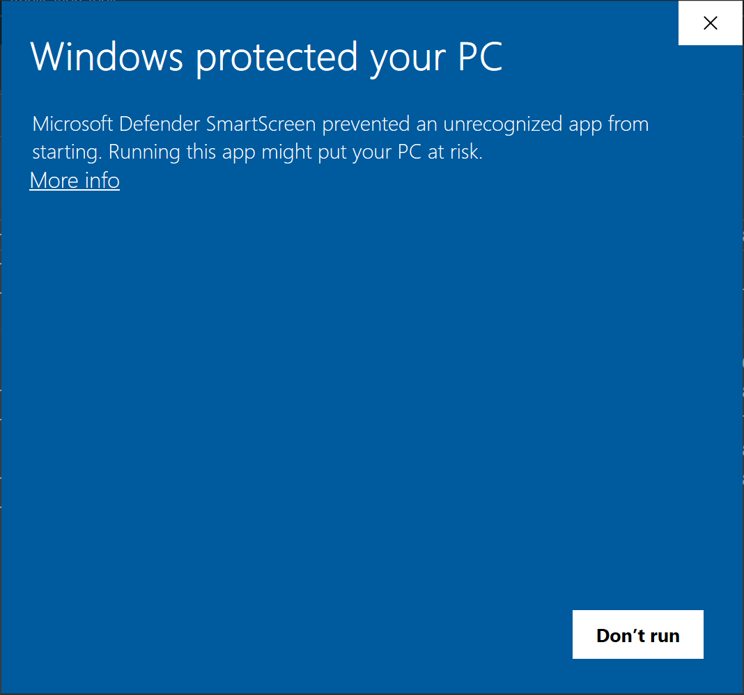 Windows Warning Screenshot