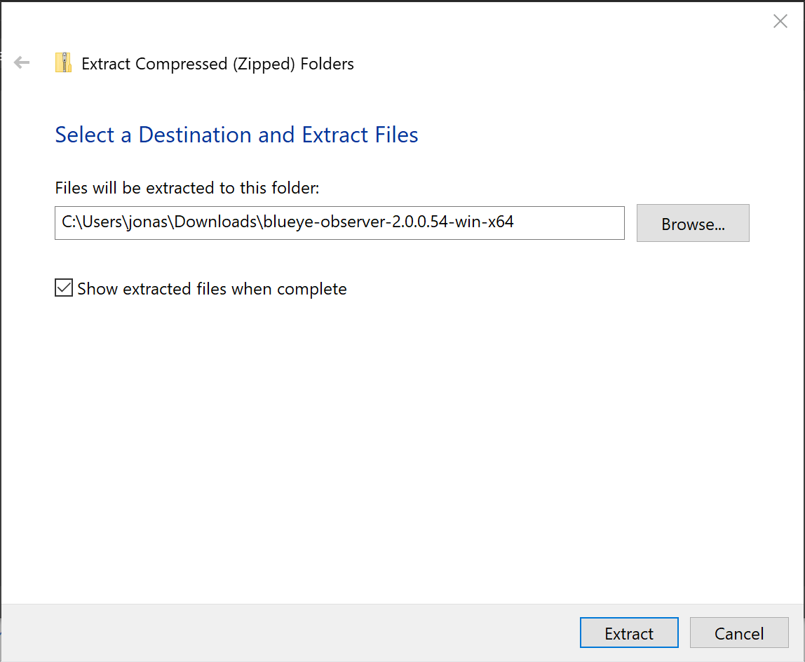 Screenshot of ZIP extraction on Windows