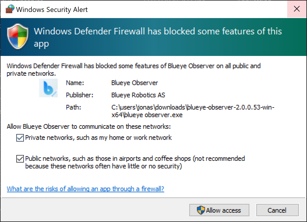 Windows Network Security Warning